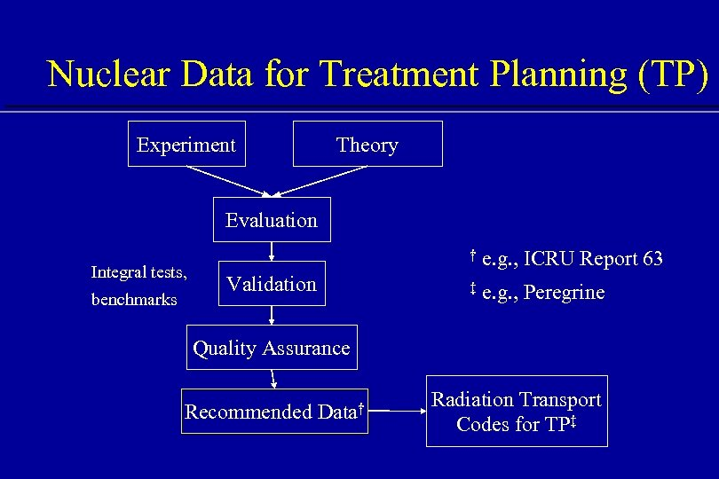 Nuclear Data for Treatment Planning (TP) Experiment Theory Evaluation Integral tests, benchmarks † Validation