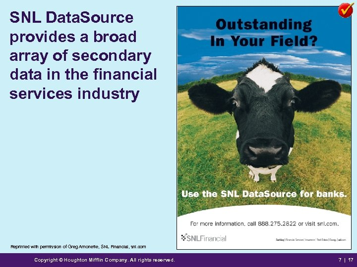 SNL Data. Source provides a broad array of secondary data in the financial services