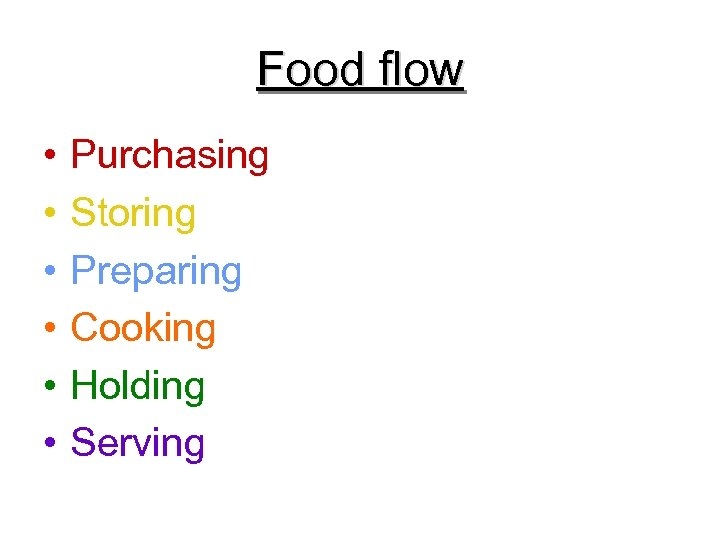 Food flow • • • Purchasing Storing Preparing Cooking Holding Serving