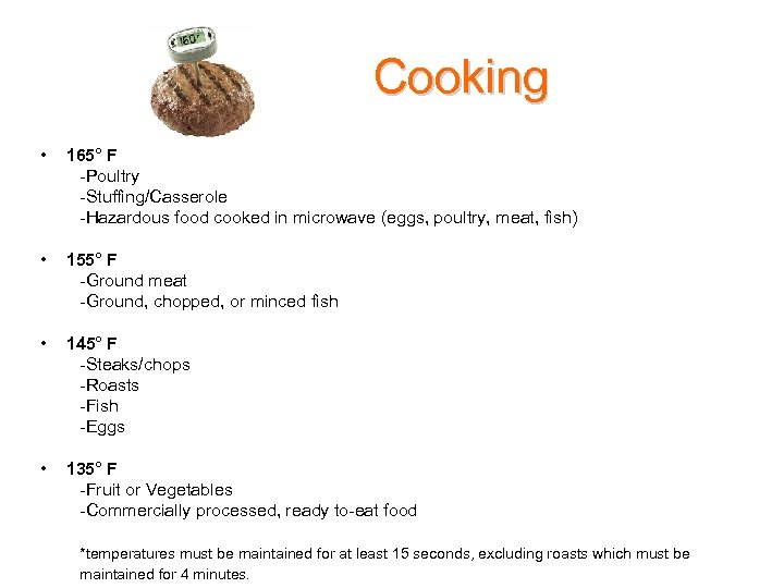 Cooking • 165° F -Poultry -Stuffing/Casserole -Hazardous food cooked in microwave (eggs, poultry, meat,