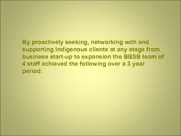 By proactively seeking, networking with and supporting Indigenous clients at any stage from business