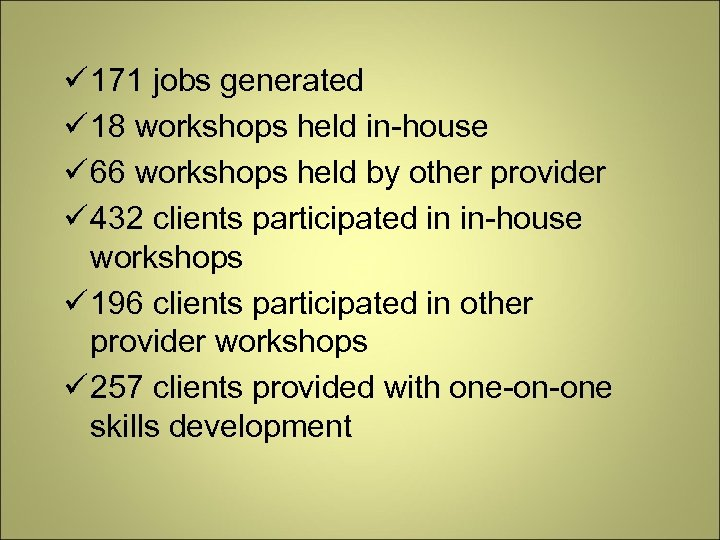 171 jobs generated 18 workshops held in-house 66 workshops held by other provider