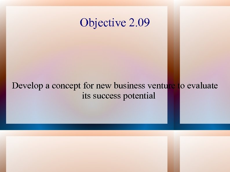 Objective 2. 09 Develop a concept for new business venture to evaluate its success