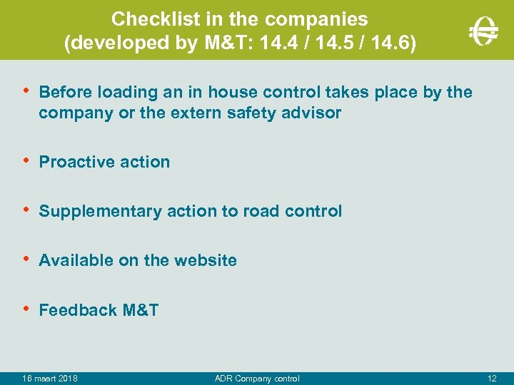 Checklist in the companies (developed by M&T: 14. 4 / 14. 5 / 14.