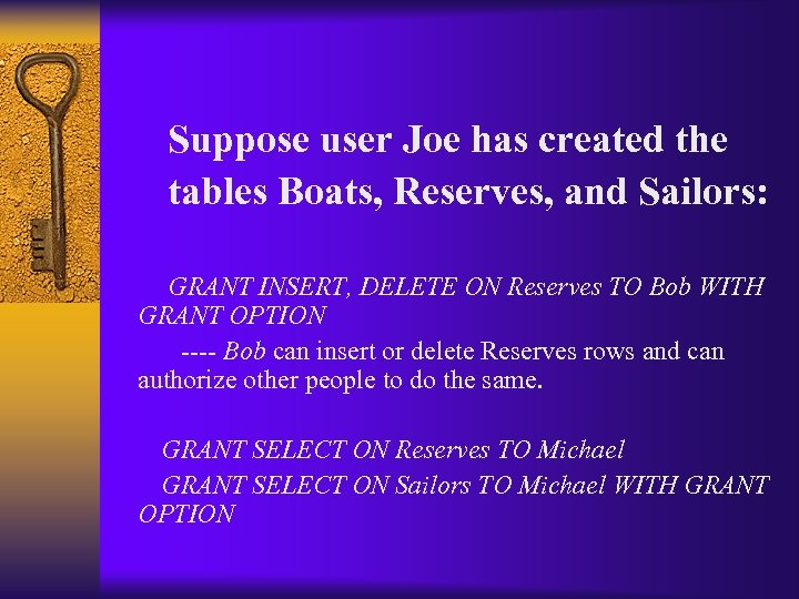 Suppose user Joe has created the tables Boats, Reserves, and Sailors: GRANT INSERT, DELETE
