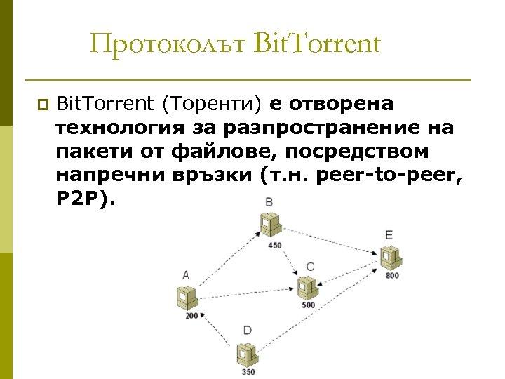 Протоколът Bit. Torrent p Bit. Torrent (Торенти) е отворена технология за разпространение на пакети