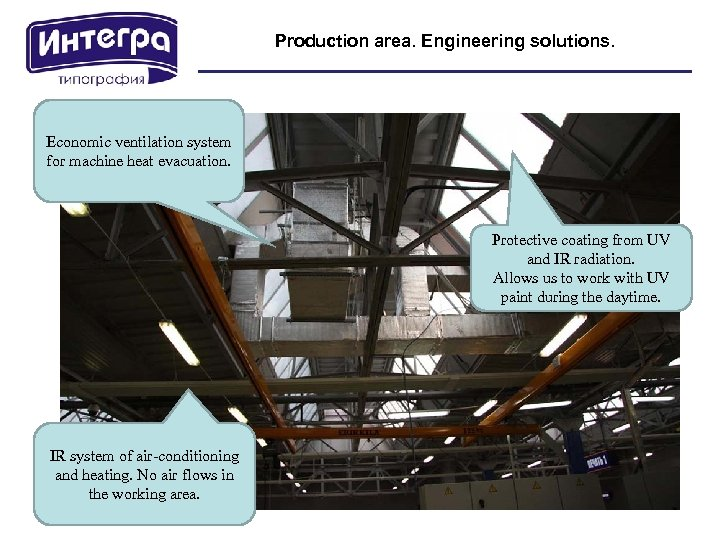Production area. Engineering solutions. Economic ventilation system for machine heat evacuation. Protective coating from