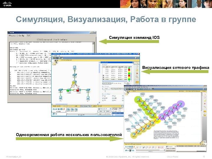 Симуляция, Визуализация, Работа в группе Симуляция комманд IOS Визуализация сетевого трафика Одновременная работа нескольких