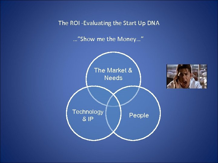 """The ROI -Evaluating the Start Up DNA …""""Show me the Money…"""" The Market &"""