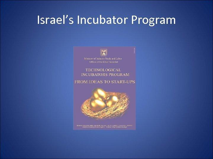 Israel's Incubator Program