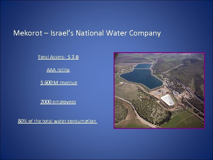 Mekorot – Israel's National Water Company Total Assets- $ 3 B AAA rating $