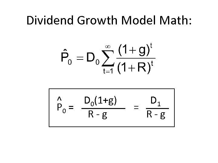 Dividend Growth Model Math: ^ D 0(1+g) P 0 = R - g D