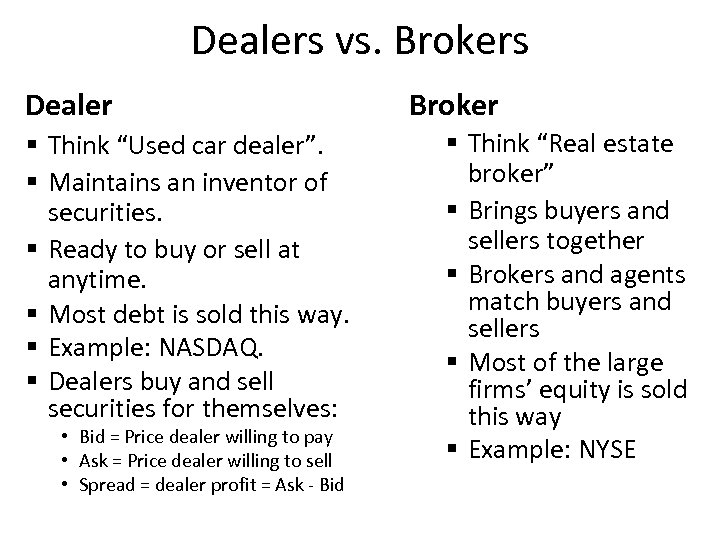"Dealers vs. Brokers Dealer § Think ""Used car dealer"". § Maintains an inventor of"