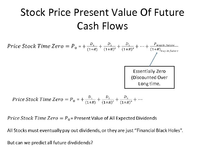 Stock Price Present Value Of Future Cash Flows Essentially Zero (Discounted Over Long time.