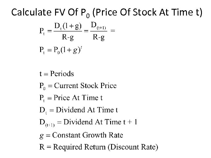 Calculate FV Of P 0 (Price Of Stock At Time t)