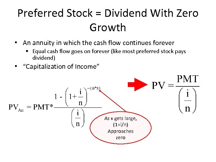 Preferred Stock = Dividend With Zero Growth • An annuity in which the cash