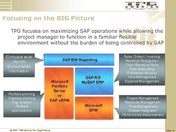 Focusing on the BIG Picture TPG focuses on maximizing SAP operations while allowing the