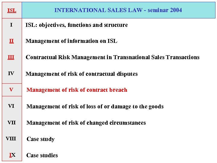 INTERNATIONAL SALES LAW - seminar 2004 ISL I ISL: objectives, functions and structure II
