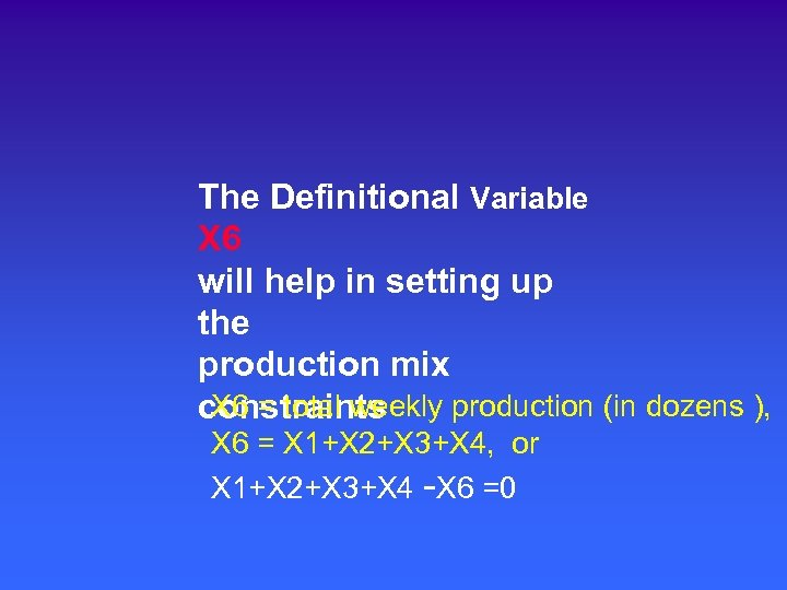 The Definitional Variable X 6 will help in setting up the production mix X