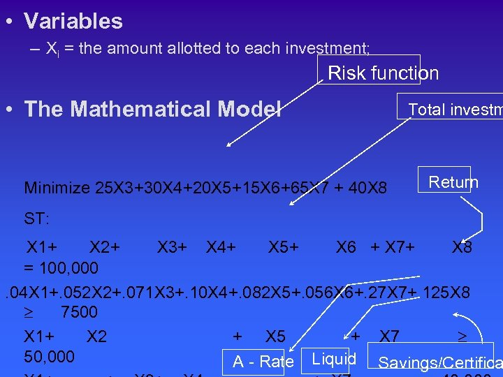 • Variables – Xi = the amount allotted to each investment; Risk function