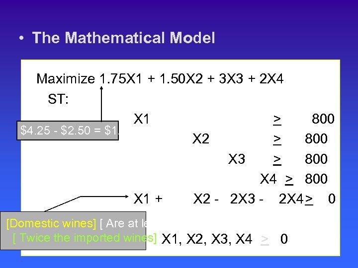 • The Mathematical Model Maximize 1. 75 X 1 + 1. 50 X