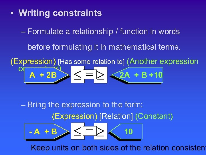 • Writing constraints – Formulate a relationship / function in words before formulating