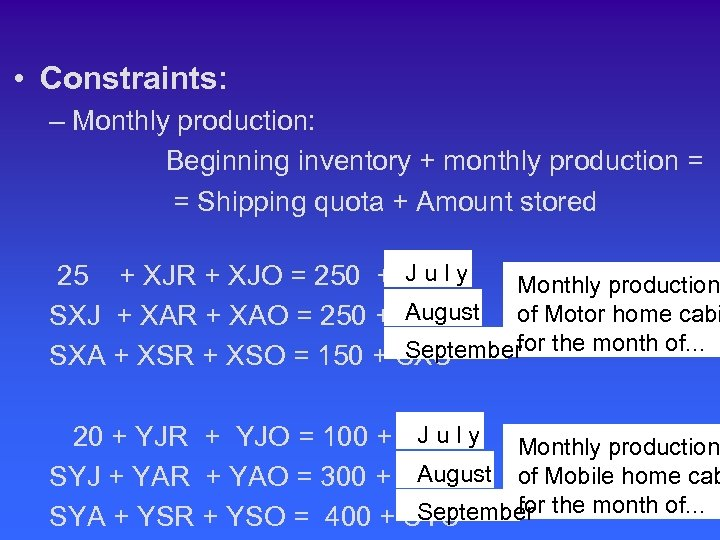• Constraints: – Monthly production: Beginning inventory + monthly production = = Shipping