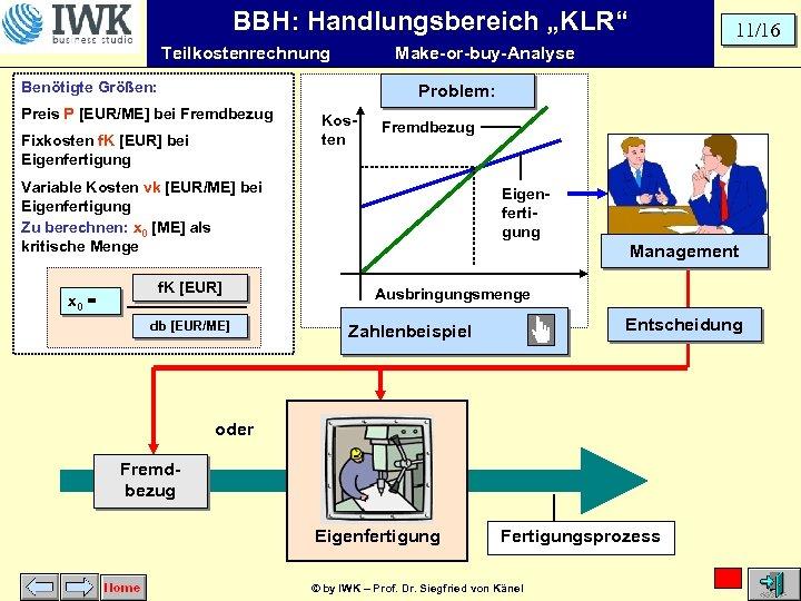"""BBH: Handlungsbereich """"KLR"""" Teilkostenrechnung Make-or-buy-Analyse Benötigte Größen: Problem: Preis P [EUR/ME] bei Fremdbezug Fixkosten"""