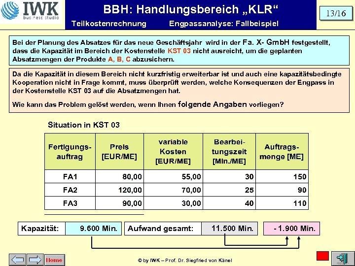 """BBH: Handlungsbereich """"KLR"""" Teilkostenrechnung 13/16 Engpassanalyse: Fallbeispiel Bei der Planung des Absatzes für das"""
