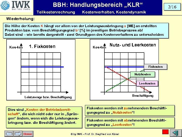 """BBH: Handlungsbereich """"KLR"""" Teilkostenrechnung 2/16 Kostenverhalten, Kostendynamik Wiederholung: Die Höhe der Kosten K hängt"""