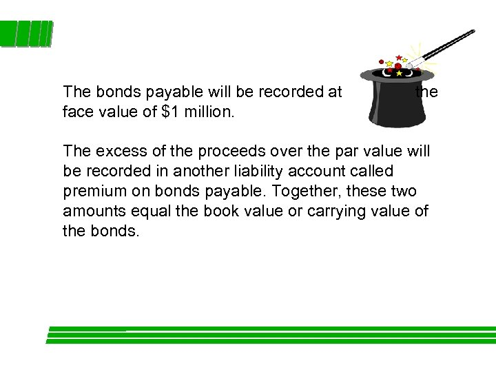 The bonds payable will be recorded at face value of $1 million. the The