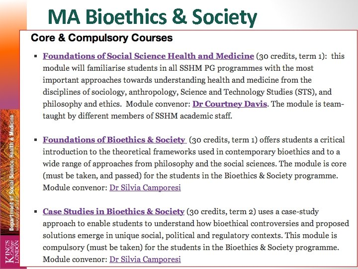 MA Bioethics & Society