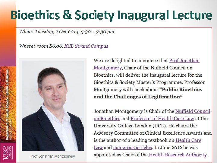 Bioethics & Society Inaugural Lecture