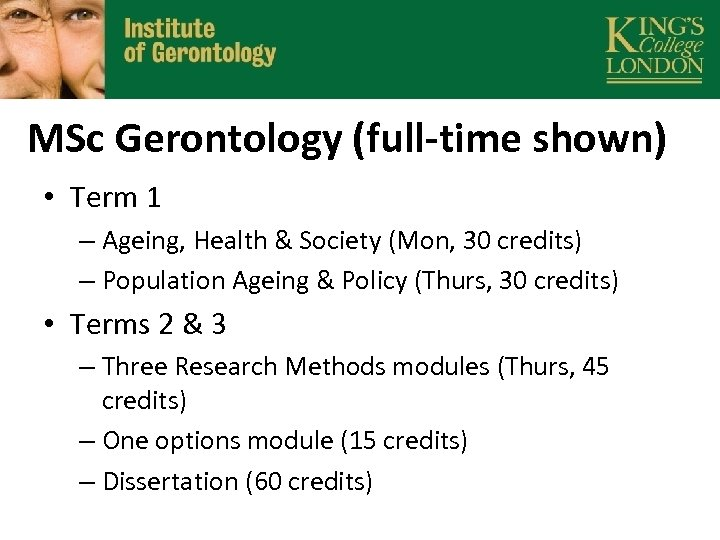 MSc Gerontology (full-time shown) • Term 1 – Ageing, Health & Society (Mon, 30