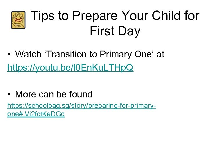 Tips to Prepare Your Child for First Day • Watch 'Transition to Primary One'