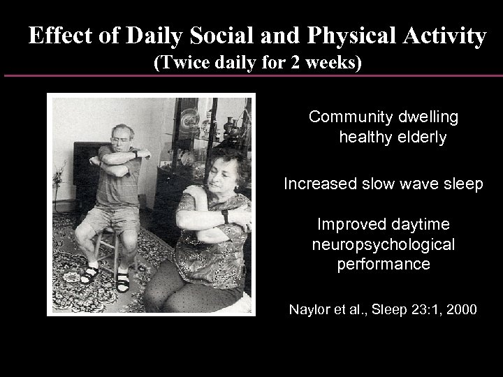 Effect of Daily Social and Physical Activity (Twice daily for 2 weeks) Community dwelling