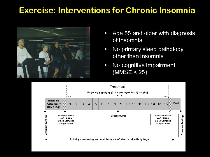 Exercise: Interventions for Chronic Insomnia • Age 55 and older with diagnosis of insomnia