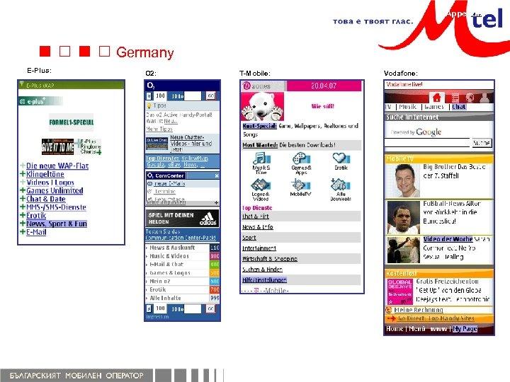 Appendix Germany E-Plus: O 2: T-Mobile: Vodafone: