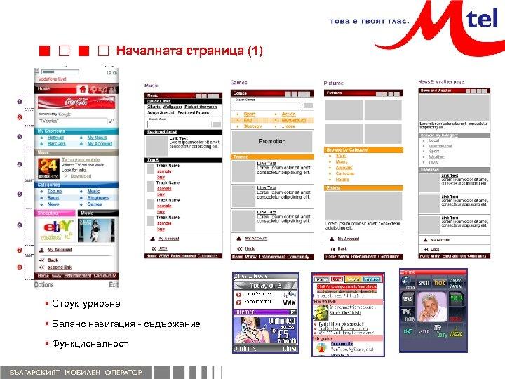 Началната страница (1) § Структуриране § Баланс навигация - съдържание § Функционалност