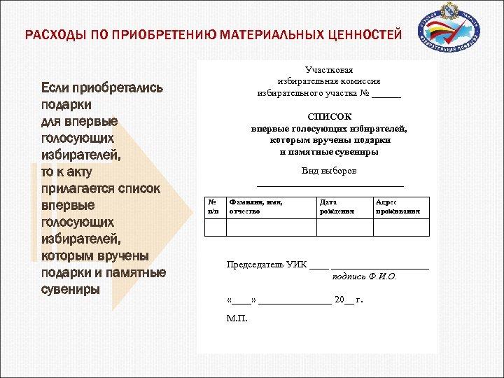 РАСХОДЫ ПО ПРИОБРЕТЕНИЮ МАТЕРИАЛЬНЫХ ЦЕННОСТЕЙ Если приобретались подарки для впервые голосующих избирателей, то к