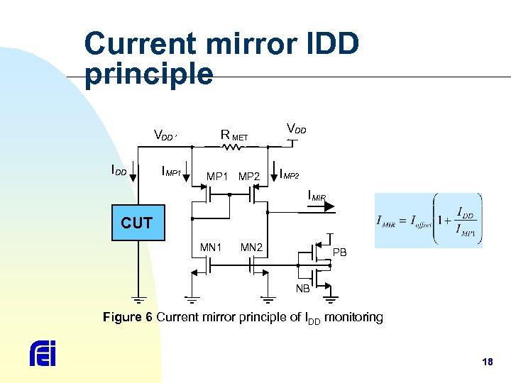 Current mirror IDD principle VDD ' I DD I MP 1 R MET MP