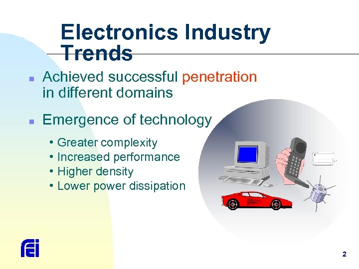 Electronics Industry Trends n n Achieved successful penetration in different domains Emergence of technology