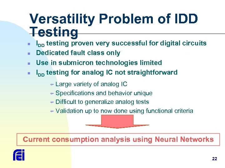 Versatility Problem of IDD Testing n n IDD testing proven very successful for digital