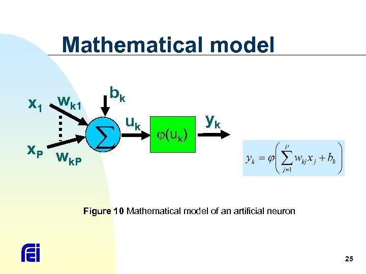 Mathematical model x 1 wk 1 x. P w k. P bk uk (uk)