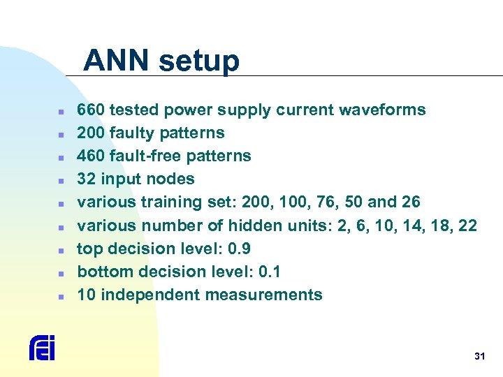 ANN setup n n n n n 660 tested power supply current waveforms 200