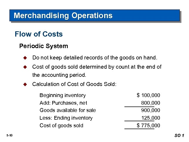 Merchandising Operations Flow of Costs Periodic System u Do not keep detailed records of