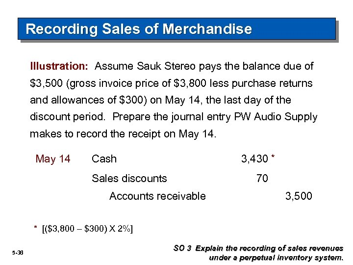Recording Sales of Merchandise Illustration: Assume Sauk Stereo pays the balance due of $3,