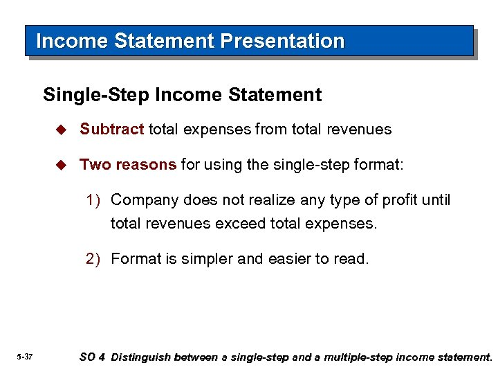 Income Statement Presentation Single-Step Income Statement u Subtract total expenses from total revenues u