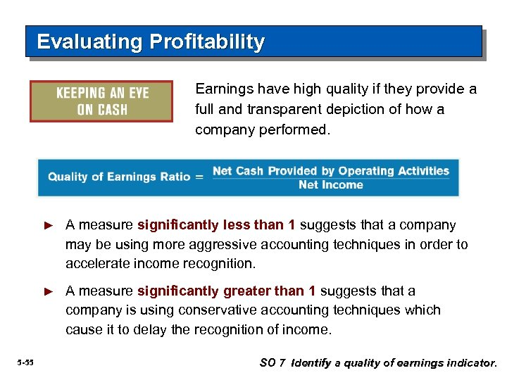 Evaluating Profitability Earnings have high quality if they provide a full and transparent depiction