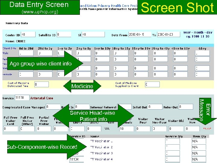 Screen Shot Data Entry Screen (www. uphcp. org) Age group wise client info Medicine